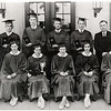 The first class to graduate from King Ferry Central School in 1933. Back row: Raymond Handville (Science teacher), David Myers, Charles Corey, Abrahan Straus, Leo Sullivan, Ernest Frier (Principal), J. D. Franklin (inset out sick). Front row: Mary Conaughty, Nancy Bower, Rose Lick, Alice Wager, Lillian Cook, Nora Sutphin. Note: As of November 2010 two living - Mary Conaughty Ryan and Lillian Cook Hunt. (Photo ID: 34487)