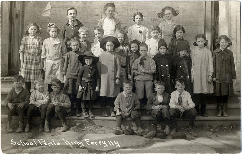 School Pupils King Ferry, NY. The Murray twin's are in the front row standing #7-8. (Photo ID: 29010)