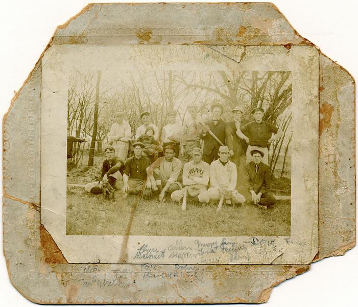 1908 Ledyard Baseball team.  Back row: Daniel Brennan, Elmer Galbreath, Allen Slarrow, Murray Lisk, James Rafferty, D. Tandy, Ernest Rafferty.  Front row: Carl Wilbur, R. Babcock, John Stickle, Harlan Bradley, Harry Ferris, Lee Coon. (Photo ID: 28985)