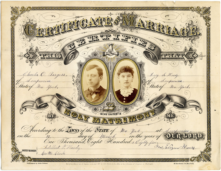 The marriage of Charles O. Burgess and Lucy S. Hardy, March 11, 1885. (Photo ID: 35079)