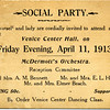 Social Party invitation, April 11, 1913. (Photo ID: 28015)