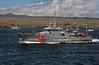 Ecuadoran Coast Guard vessel in San Cristobal harbor.<br /> <br /> Galapagos Islands, Ecuador.<br /> Isla San Cristobal.<br /> OSN a003