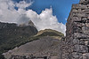 Machu Picchu #72<br /> <br /> Looking back toward the entrance, and Mt. Machu Picchu behind it wreathed in clouds.