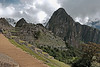 Machu Picchu #10<br /> <br /> In the distance, from left to right:  Intiwakana pyramid, Una Picchu (small mountain), Eastern Urban Sector, Huayna Picchu Mountain.  The view is approximately to the northwest.
