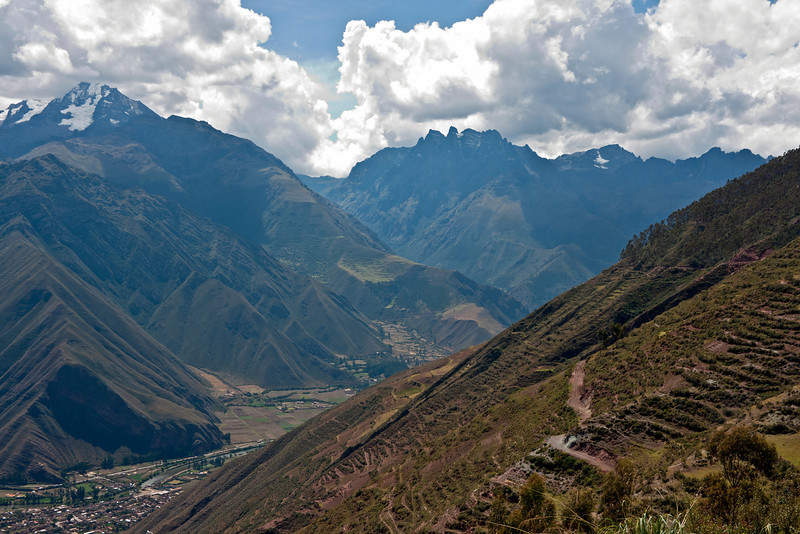 At an overlook above Huayabamba on the Rio Urubamba.<br /> <br /> We were on the highway that runs roughly north and west out of Cusco to the town of Urubamba, at the junction of that highway with Hwy 28B, running through the Sacred Valley.<br /> <br /> Peruvian Andes, 2009<br /> En route sequence #1, from Cusco to Yucay