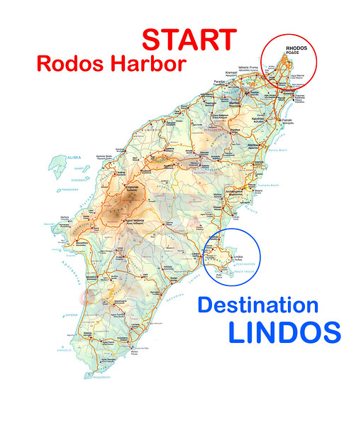 Map of the Island of Rhodes.