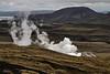 Steam vent south of Þingvallavatn (in the distance).<br /> <br /> Þingvellir National Park,<br /> SW Iceland.