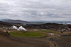 From an overlook just east of Lake Mývatn, looking to the southwest.<br /> <br /> The geothermal region northeast of Lake Mývatn and between the lake and the famous hot spot and power station, Krafla.   Iceland.