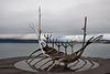 Sólfar, or Sun Voyager,  by artist Jon Gunnar Arnason.  A representation in metal of a skeletal viking ship.