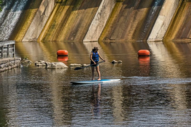 D213-2014 Paddlers on SUP's just below the Barton Dam at Barton Park.<br /> <br /> Huron River at Barton Park, Ann Arbor, Michigan<br /> August 1, 2014