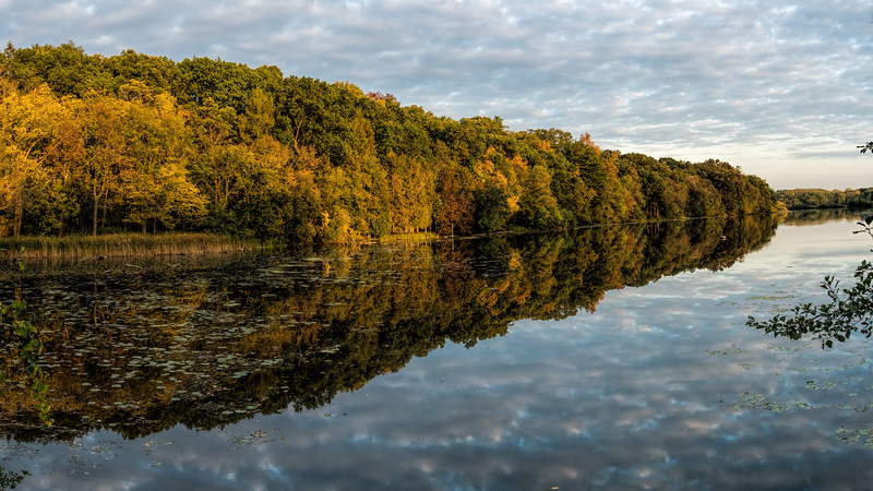 River bank in early autumn at the golden hour (SC 2017-10-14)