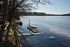 Long stretches of the breakwater are submerged in the frigid water.<br /> <br /> February 5, 2012<br /> <br /> Crooked Lake, Michigan