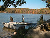 Bringing in the dock and boats for the winter.<br /> <br /> October 29, 2004