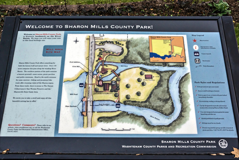 D302-2013  Interpretive signs:  Mills Area Site Map<br /> <br /> Sharon Mills County Park, Washtenaw County, Michigan<br /> October 29, 2013
