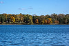 D284-2014  A view across Portage Lake from the boat launch area to the county park along Portage Lake Road.<br /> <br /> Waterloo Recreation Area, Jackson County, Michigan<br /> October 11, 2014