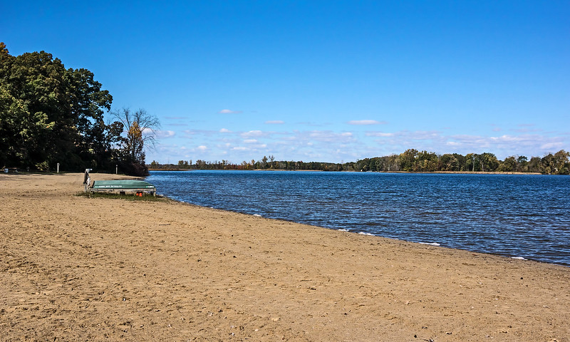 D284-2014  Autumn at Portage Lake<br /> This is the swimming beach.  Swimming is pretty much done for the season!<br /> <br /> Waterloo Recreation Area, Jackson County, Michigan<br /> October 11, 2014