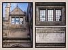 Three panel montage of details, northeast corner, Law Quad