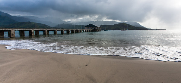 Midday rains over the Hanalei Pier