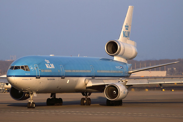 Reg: PH-KCC Operator: KLM Royal Dutch Airlines Type:  McDonnell Douglas MD-11		   C/n: 48557/569   Pushed back and awaiting taxi clearance at Amsterdam's Schiphol Airport.     Photo Date: 09 March 2010 Photo ID: 1200010