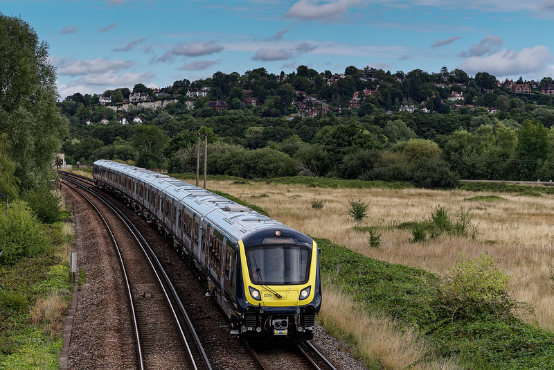 The first 701 unit working down the Pompey Direct, as part of the test program based at Eastleigh. 701005 at Shalford Junction with 5Q32, the 11:22 Guildford -  Portsmouth & Southsea, on 24th August 2020.