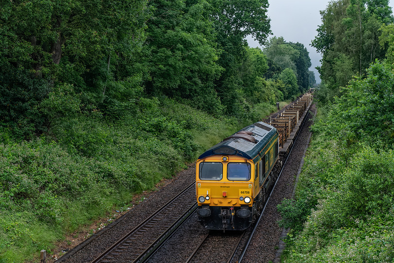 66708 top & tailed with 66744 approaching Guildford with 6G11, <br /> the 06:20 Whitton Junction - Eastleigh East Yard, on 20th June 2021.