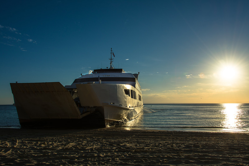 Micat arriving late for a 'sunset' cruise back to Brisbane