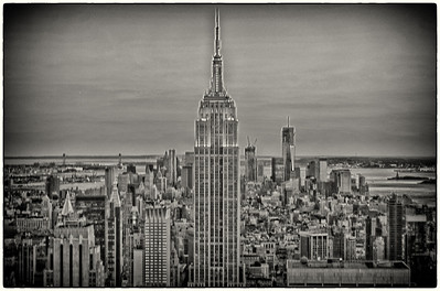 NY Empire State Bldg HDR B&W