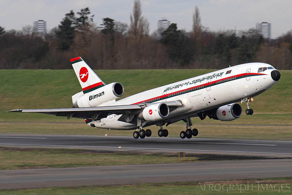 "Reg:  S2-ACROperator:  Biman Bangladesh AirlinesType:  Douglas DC-10-30  C/n:  48317 / 445Location:  Birmingham - International (BHX / EGBB), UKThe last ever passenger carrying departure of a DC-10, flight ""Bangladesh 008"" departs runway 15 in fine style Photo Date:  24 February 2014Photo ID:  1400938"