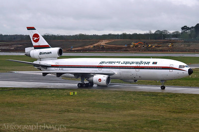 "Reg:  S2-ACROperator:  Biman Bangladesh AirlinesType:  Douglas DC-10-30  C/n:  48317 / 445Location:  Birmingham - International (BHX / EGBB), UKS2-ACR ""The New Era"" was the last flying passenger DC-10 in the world, and to mark the retirement of the type Biman brought this wonderful machine to Birmingham for a weekend of pleasure flights. See here taxiing back in after flight BG002 on the Monday morning. Photo Date:  24 February 2014Photo ID:  1400940"