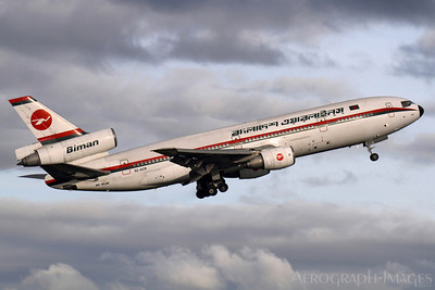 "Reg:  S2-ACROperator:  Biman Bangladesh AirlinesType:  Douglas DC-10-30  C/n:  48317 / 445Location:  Birmingham - International (BHX / EGBB), UKThe last ever passenger carrying departure of a DC-10, flight ""Bangladesh 008"" climbs away from Birmingham, the setting sun rather apt on the closing of this magnificent aircaft's career Photo Date:  24 February 2014Photo ID:  1400938"