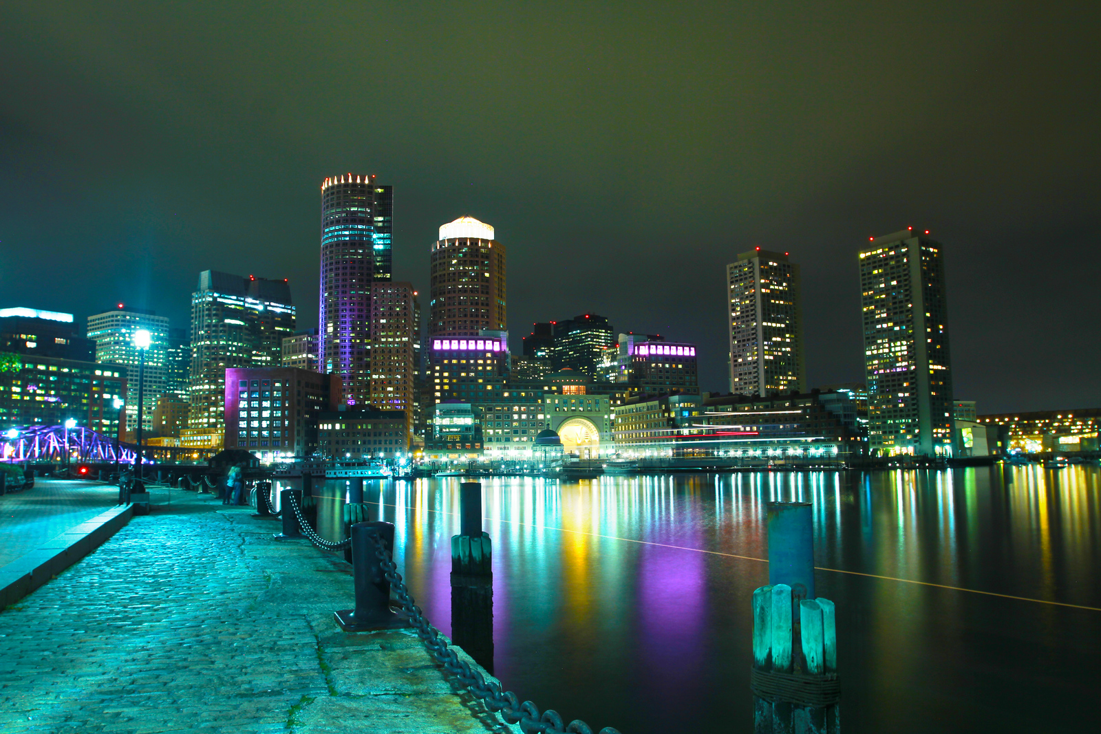 Boston skyline view from Fan Pier Park during a calm Fall evening on October 25, 2014. Photo by Bradley Rhoton.