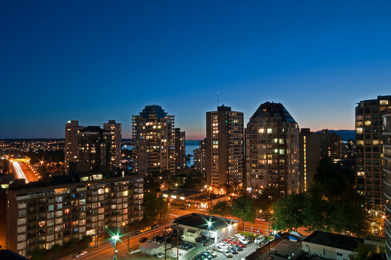 View of Vancouver from the hotel room at sunset