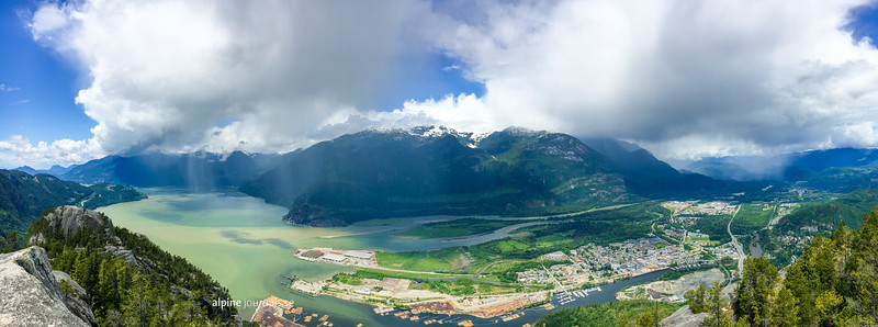 View from Stawamus Chief to Howe Sound and Squamish,BC.