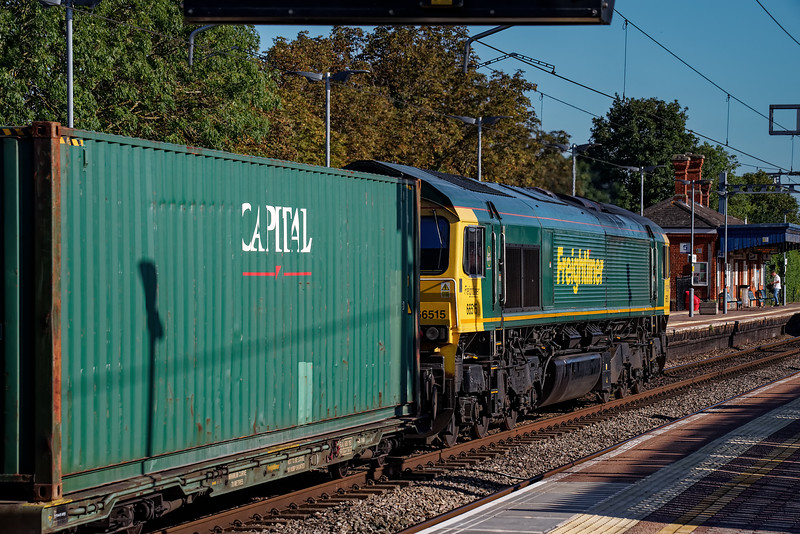 66515 passes through the station with 4O57, the 13:29 Wentloog - Southampton Maritime, on 20th September 2019.