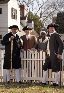 "President Collin Campbell with ""Nation Builders"" Exterior shot of Mr. Campbell in conversation with character interpreters- Bill Barker as Thomas Jefferson; Richard Schumann as Patrick Henry; James Ingram as Gowan Pamphlet; Valarie Holmes as Lydia Broadnax"