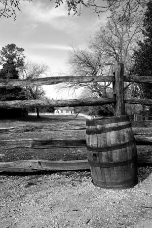 Fence and Barrel Black and White