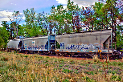 """Train Cars as Art""  Saw this train adjacent to the road leading to Rocky Mountain National Park and couldn't resist the artistic nature of the picture.. A great canvas opportunity that you can turn into a longer panoramic photo when you purchase this picture."