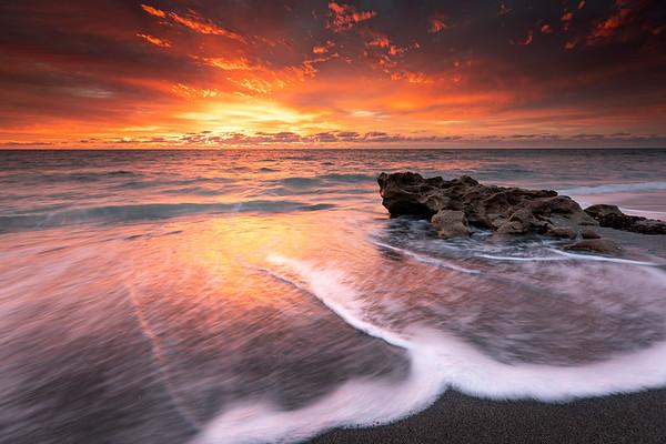 Fiery sky at sunrise