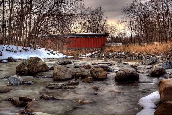 Red Covered Bridge In Winter