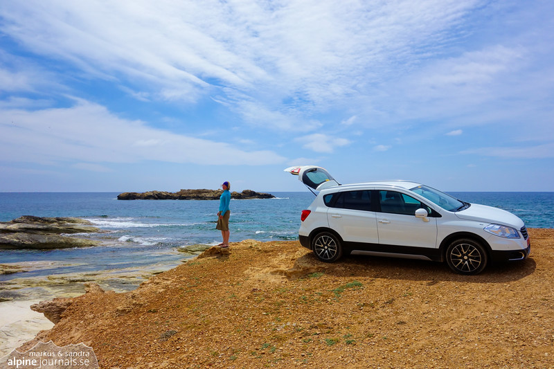 Our own Suzuki  SX4 ad. Great car for all our small Cyprus adventures. Here overlooking the Manijin island.