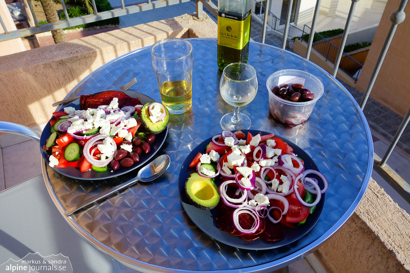 Our typical dinner: Greek salad