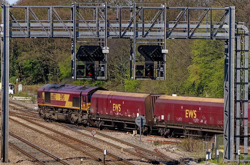 66182 at Foxhall Junction with an MGR service from Daw Mill Colliery for Didcot Power Station on 8th April 2011.