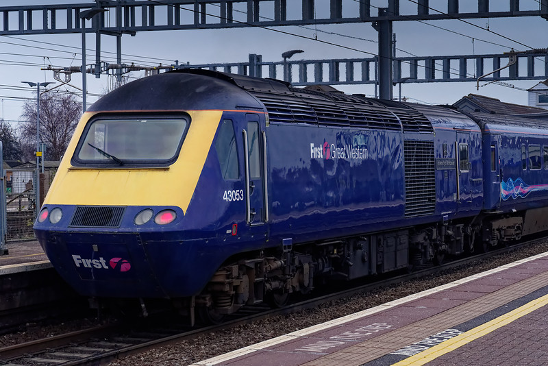 43053 on the rear of the 09:18 Paignton - Paddington, departing Didcot Parkway. <br /> 5th January 2019.
