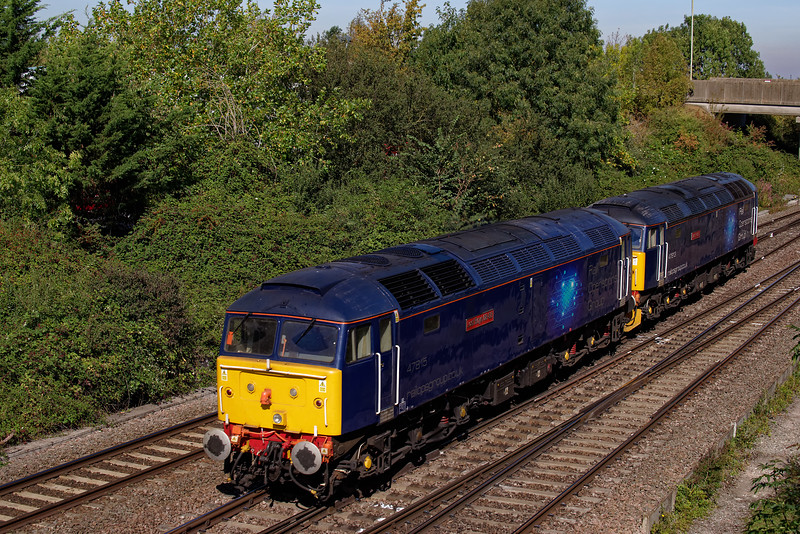 Rail Operation Group 47813 and 47815 with 0M59, the 08:34 Bournemouth T&RSMD - Leicester LIP. 20th September 2019. The 47s had been involved with moving various 442 units around.