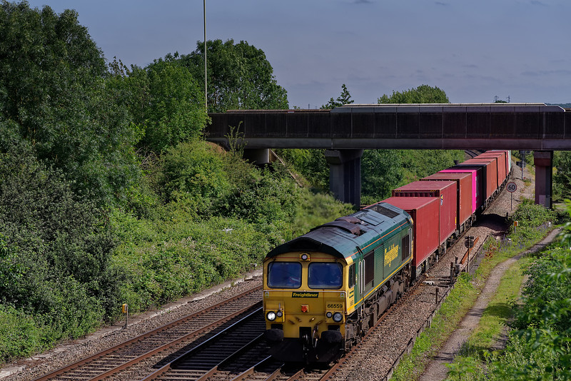 66559 with 4O05, the 07:19 Birch Coppice Freightliners - Southampton Maritime. <br /> 28th June 2019.