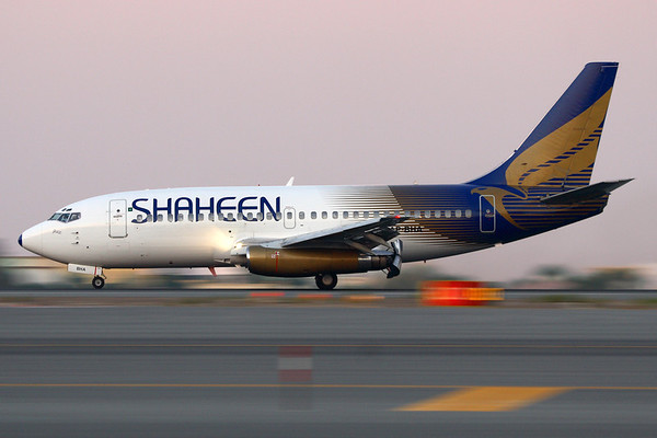 AP-BHA - Shaheen Airlines, Boeing 737-277-Adv (c/n 22645, l/n 768)  Decelerating after landing on Dubai's runway 30L at dusk. 17 November 2009