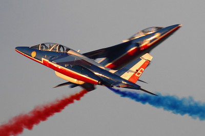 Reg: E44		   Code: 6 Operator: France - Armee de l'Air Type:  Dassault-Dornier Alpha Jet E		   C/n: E44   The Patrouille de France's solo pair cross during their entertaining display at the close of Day One of the 2011 Dubai Air Show.     Photo Date: 13 November 2011 Photo ID: 1200405