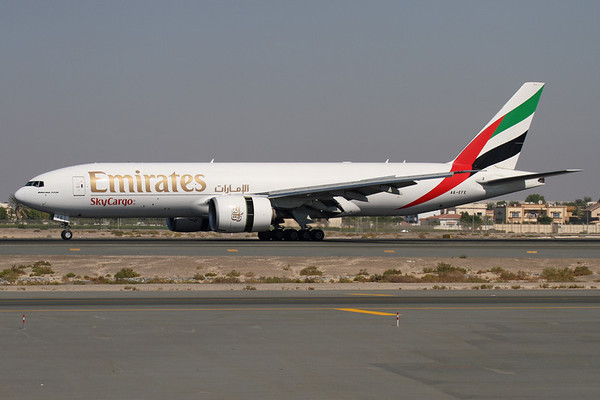 A6-EFE - Emirates Sky Cargo, Boeing 777-F1H (c/n 35607 l/n 788)  Emirates operate a fleet of four dedicated 777-200 Freighters, the second of which is seen rolling out after landing on runway 30R in Dubai. 14 November 2011