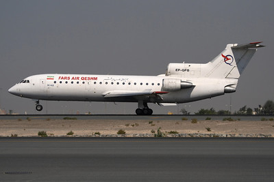 EP-QFB - Fars Air Qeshm, Yakovlev Yak-42D (c/n 4520422003019)  Perhaps the last regular Yak-42 operator into Dubai, this machine is captured rolling out on 30L after a short hop over the Persian Gulf. 15 November 2009
