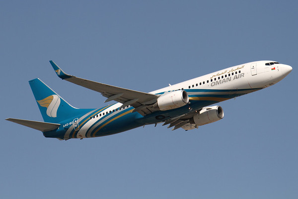 A4O-BG - Oman Air, Boeing 737-8FZW (c/n 29664 l/n 3060)  Climbing out from Dubai on the very short hop over the Arabian Peninsula to Muscat-Seeb. 14 November 2011
